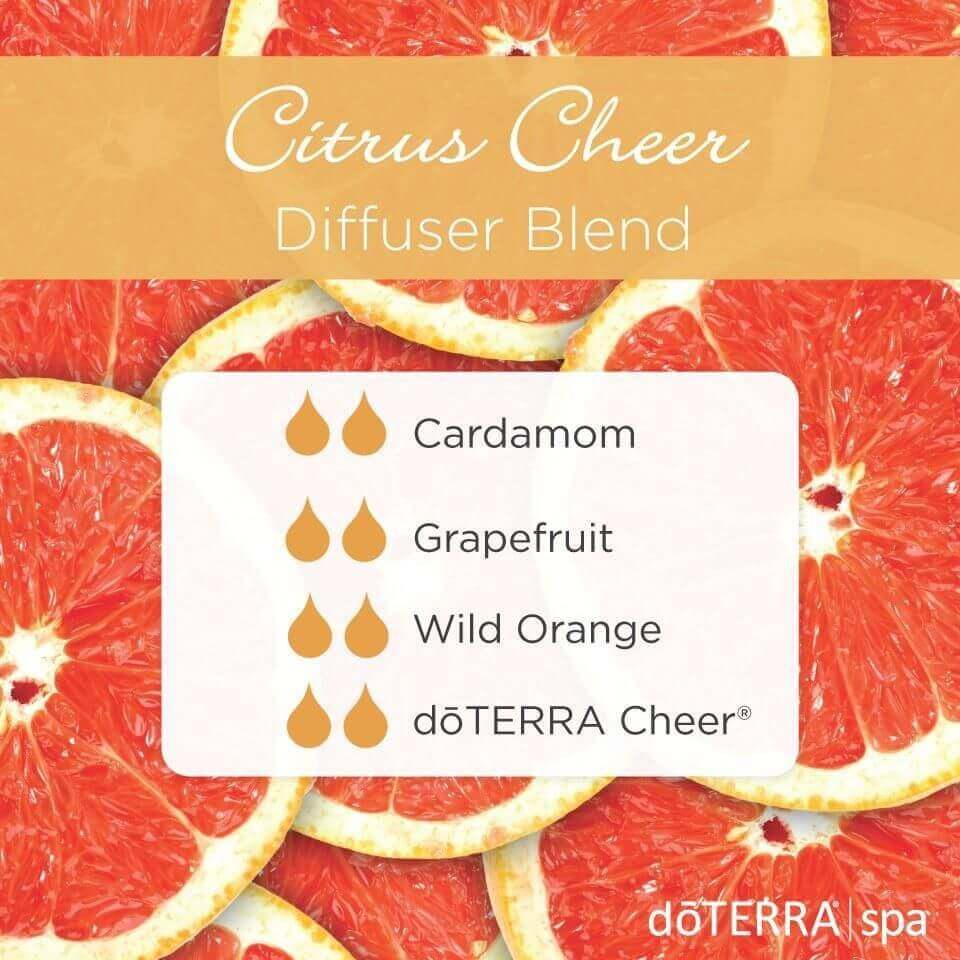 melange diffuseur citrus cheer, cardamom, grapefruit, wild orange, doterra cheer
